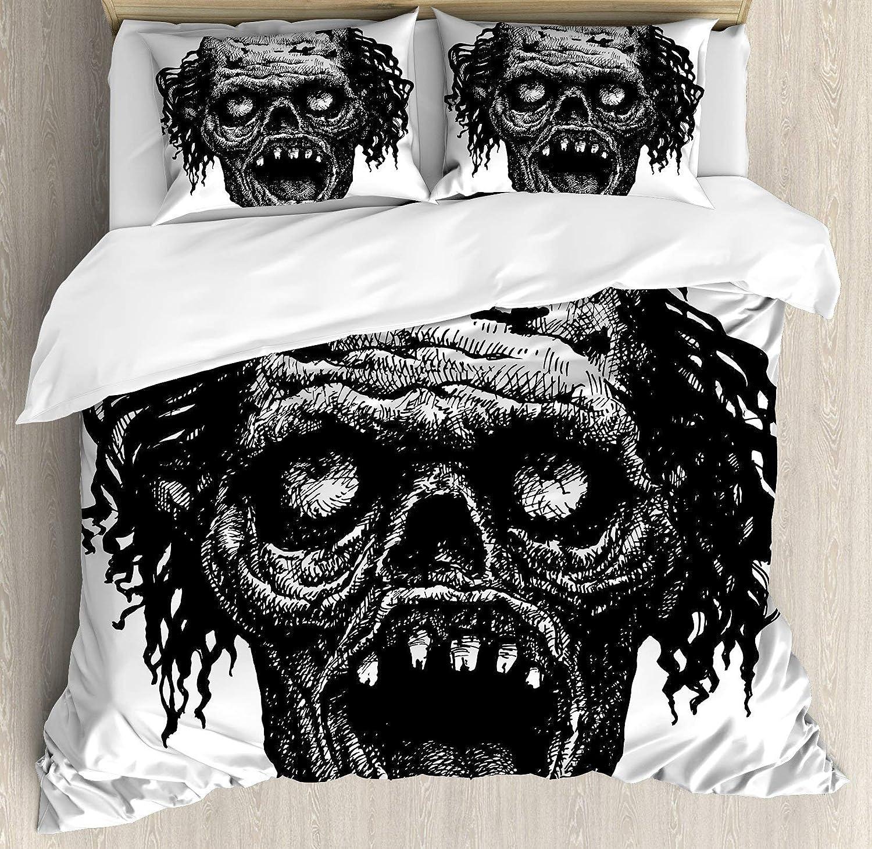 BULING Halloween 4pc Bedding Set Full Size, Zombie Head Evil Dead Man Portrait Fiction Creature Scary Monster Graphic Floral Lightweight Microfiber Duvet Cover Set, Black Dark Grey