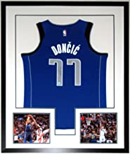 Luka Doncic Signed Authentic Dallas Mavericks Jersey - Fanatics COA Authenticated - Professionally Framed & 2 Rookie Year 8x10 Photo 34x42