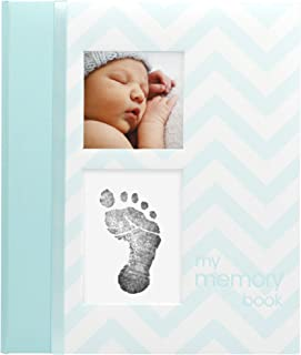Pearhead Chevron Baby Memory Book with Clean-Touch Ink Pad Included, Teal - A Perfect Gift for Expecting Parents