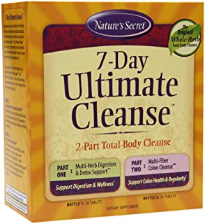 Nature's Secret 7 Day Ultimate Cleanse - 2 Part Total Body Cleanse Promotes Healthy Digestion & Elimination with Multi-Her...