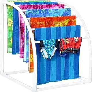 TowelMaid Curved 7 Bar Freestanding Outdoor Poolside Towel Rack