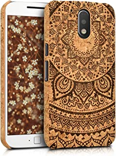 kwmobile Motorola Moto G4 / Moto G4 Plus Case - Protective Cork Cover for Motorola Moto G4 / Moto G4 Plus - Dark Brown/Light Brown