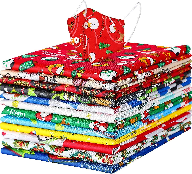 12 Piezas de Telas Cuadradas de Grasa de Navidad Paquetes de Tela de Algodón Navideña Tela Patchwork Precortada Estampada de Papá Noel Patrón de Navidad,19,6 x 15,7 Pulgadas/ 50 x 40 cm