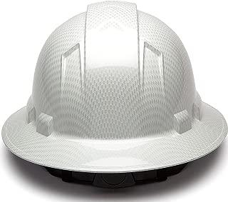 Full Brim Hard Hat, Adjustable Ratchet 6 Pt Suspension, Durable Protection Safety Helmet, Graphite Pattern Design, White Shiny, by AcerPal