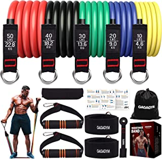 GAGAGYM Resistance Bands Set,Exercise Bands with Handles,Training Tubes with Door Anchor & Ankle Straps for Resistance Tra...