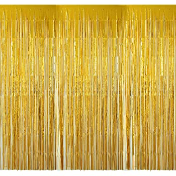 4 Pack(2mx1m) Cortinas Fiesta Dorada Boda Metálico Brillante Oro Franja Decorativa Photocall Flecos de Ventana Tinsel Navidad Cumpleaños Hogar Hotel (Dorado): Amazon.es: Hogar