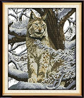 CaptainCrafts New Cross Stitch Kits Patterns Embroidery Kit - Snow Leopard (WHITE)