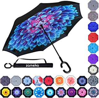 Z ZAMEKA Double Layer Inverted Umbrellas Reverse Folding Umbrella Windproof UV Protection Big Straight Umbrella Inside Out Upside Down for Car Rain Outdoor with C-Shaped Handle, Blue Flower