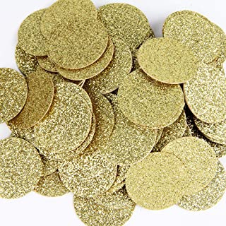 Gold Glitter Double Sided Dots Paper Confetti for Table Wedding Birthday Party Decoration,1.2 inch in Diameter(100pcs)