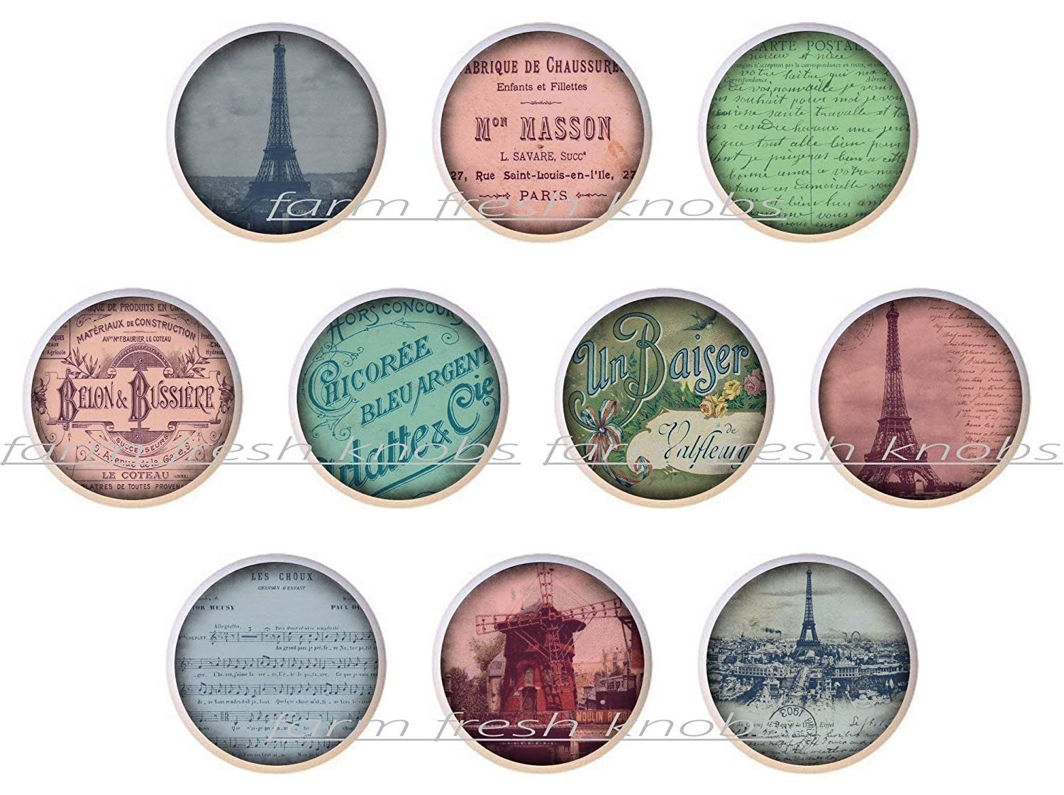 SET In Jacksonville Mall a popularity OF 10 KNOBS - Set #1 France #10 Designs #01 Fren Paris