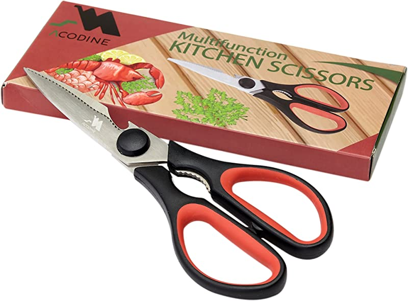Heavy Duty Kitchen Shears Take Apart Stainless Steel Blades Comfort Rubber Grip Handles With Bottle Opener And Nutcracker Multipurpose Scissors For Chicken Meat Fish And Herbs Acodine
