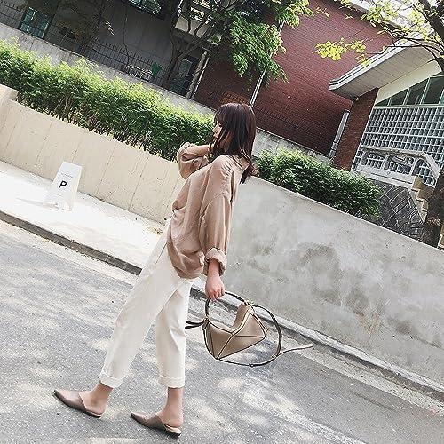 DHG Pointu Plat Muler Chaussures sans Talon Baotou Paresseux Paresseux Paresseux Net Demi-Chaussons Femme été,Chamois,36 258