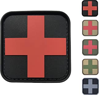 Medic Red Cross First Aid Morale Patch - Perfect for IFAK Rip Away Pouch, EMT, EMS, Trauma, Medical, Paramedic, First Response Rescue Kit, Tactical, Combat, Emergency, Blow Out, EDC Bag (Black-Red)