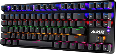 Mechanical Keyboard,Compact 87 Key Computer Keyboard 24 LED Effects USB Wired PC Gaming Keyboard Blue Equivalent Switches ...