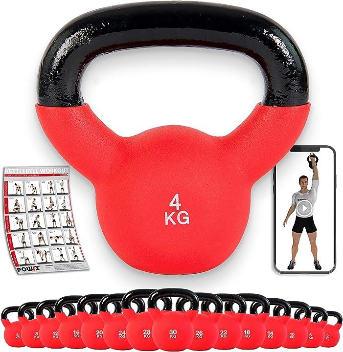 Kettlebell ghisa 4-30 kg - rivestimento in neoprene & pdf workout powrx B00PWCIB4I