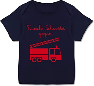Shirtracer Tausche Schwester gegen Feuerwehrauto - Kurzarm Baby-Shirt für Jungen und Mädchen