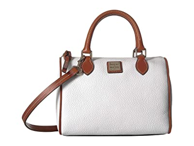 Dooney & Bourke Pebble Trudy Satchel (White/Tan Trim) Handbags