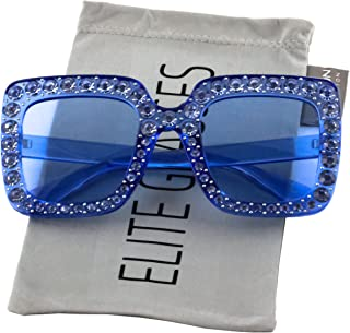 Elite Oversized Square Frame Bling Rhinestone Crystal...