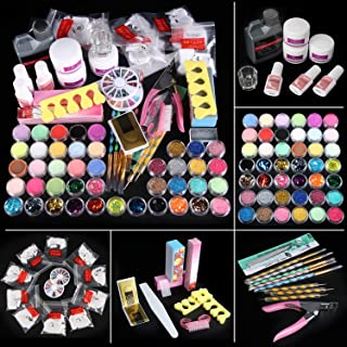 42 in 1 Acrylic Nail Kit, Nail Art Set Acrylic Powder Liquid Brush Glitter Clipper File French Tips Nail Art Decoration Tools Professional Manicure Set