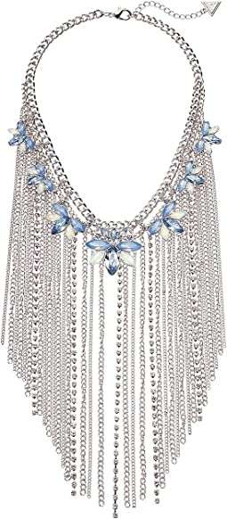 Dramatic Stone Cluster and Fringe Chain Statement Necklace