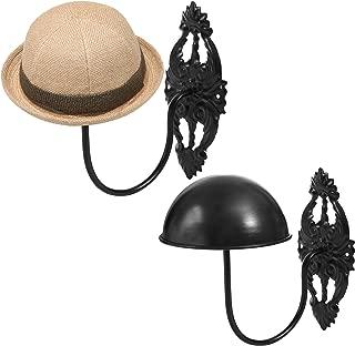 MyGift Set of 2 Wall-Mounted Black Metal Hat & Wig Display Racks