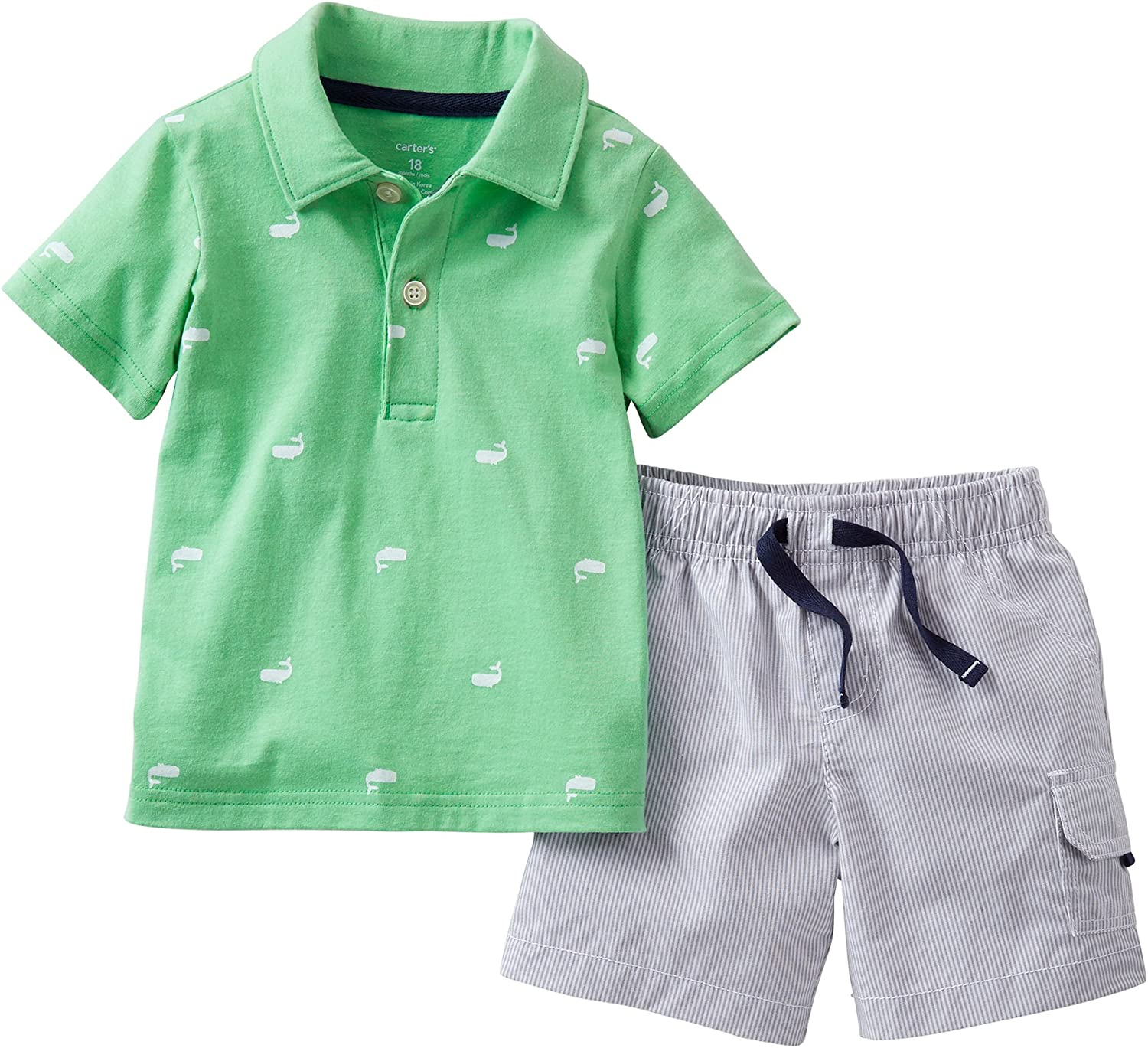 Carter's Baby Boy S Whale Set At the price of surprise Shorts Limited price Shirt Polo Striped