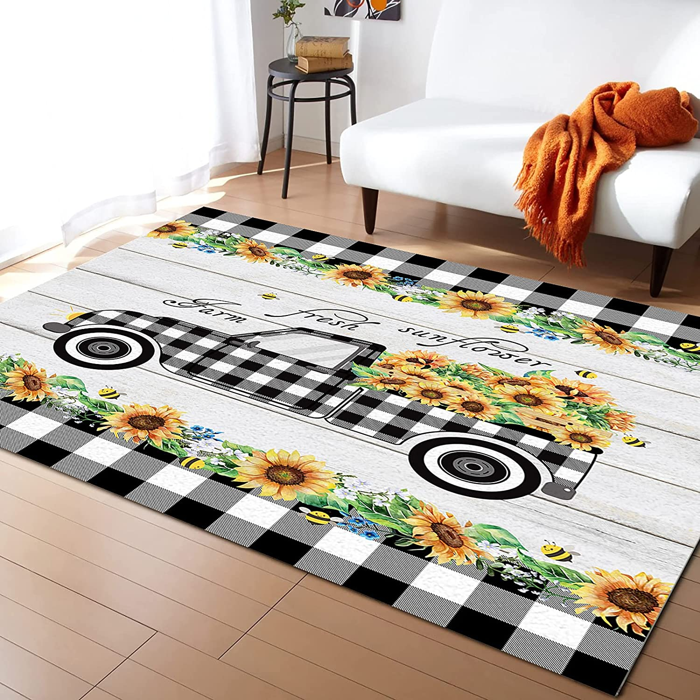 Rectangular Soft Area Rug Non-slip Home Max 69% OFF for Seattle Mall Bedr Floor Decor