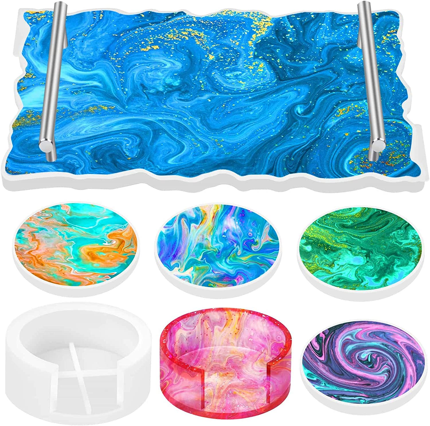 Tuceyea 8Pcs Coaster and Tray Molds Resin Set Popular Max 59% OFF brand Includin Silicone