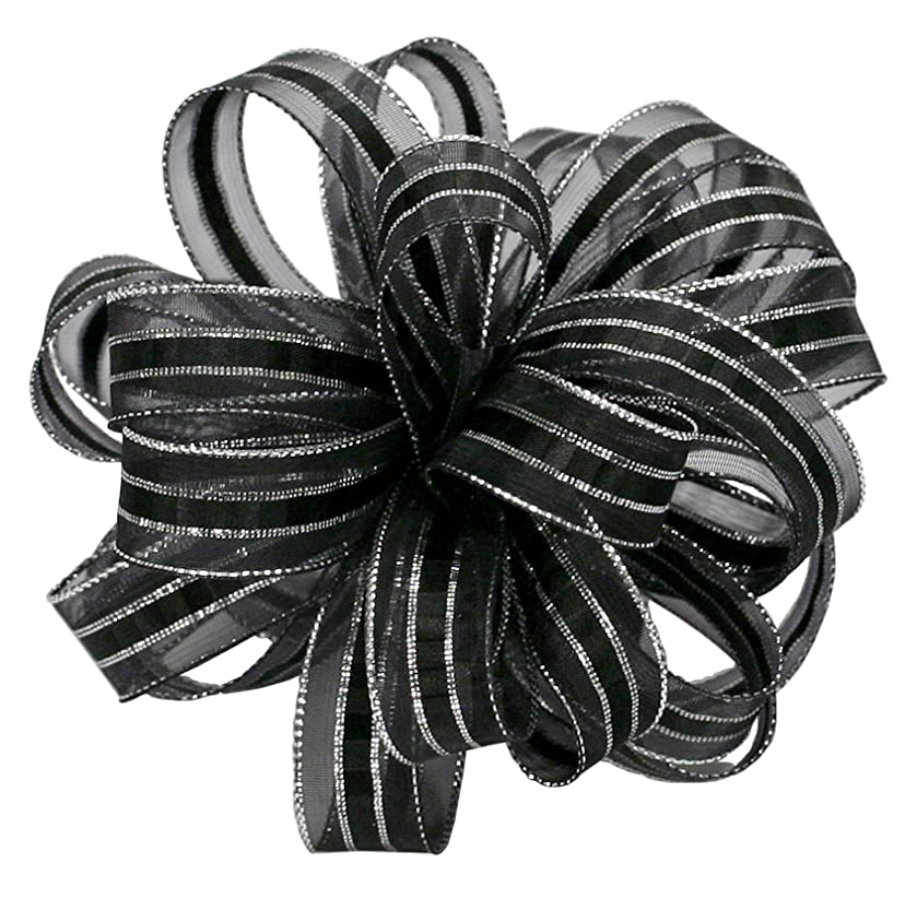 Offray Ilissa Sheer and Satin Craft Ribbon, 5/8-Inch Wide by 25-Yard Spool, Black/Silver