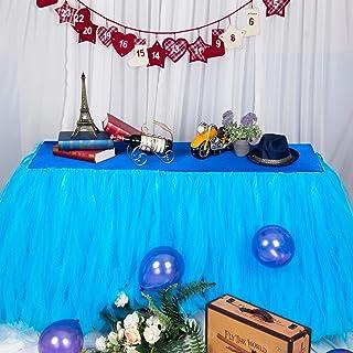 Falda de mesa, gasa de escritorio romántica de tul, decoración de mesa, mantel de copo de nieve del país de las maravillas, para Baby Shower, boda, cumpleaños, día de San Valentín Navidad (3FT)