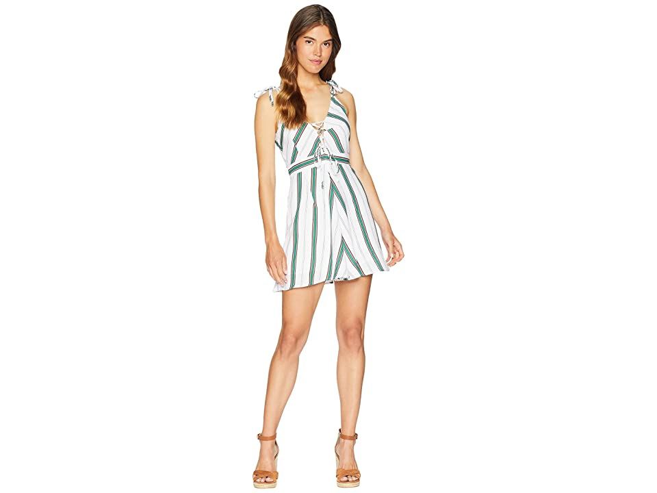 J.O.A. Fit Flare Dress with Lace-Up Side (Mint/Chocolate Chip) Women