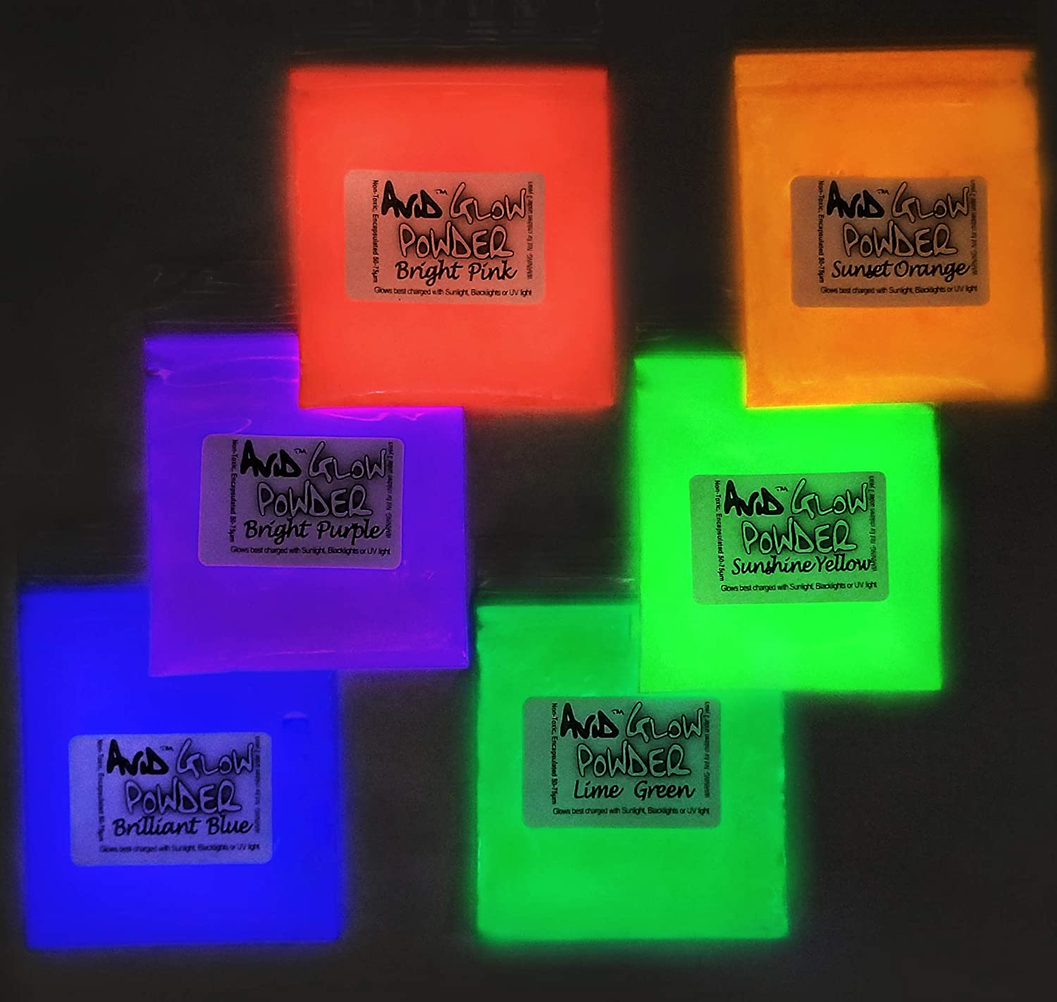 Glow Powder Pigment Variety- List price 6 Colors 4 years warranty Pa Fluorescent Daylight in