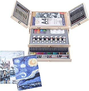 85 Piece Art Set with 3 x 50 Page Drawing Pad, Professional Art Set in Portable Wooden Case, Painting & Drawing Set Art Ki...