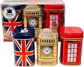 Exklusive English Tea  London Erinnerungen, 3 x 50 g Tee Metall Caddys Kombination Geschenk Pack  1160