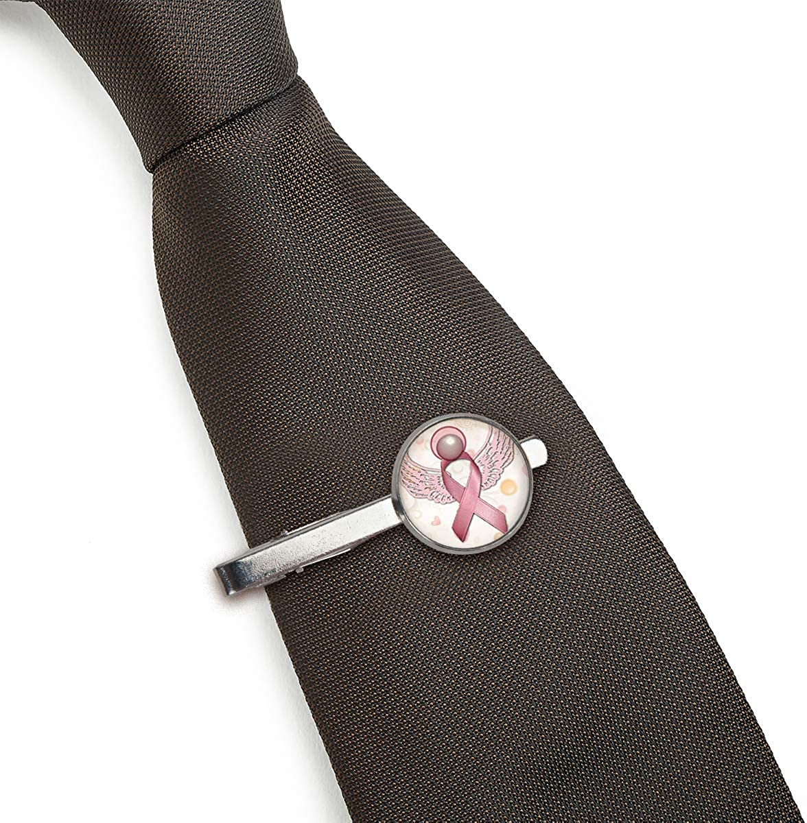 LooPoP Men Tie Clip Pink Wing Ribbon Stainless Tie Pins for Business Wedding Shirts Tie Clips Include Gift Box