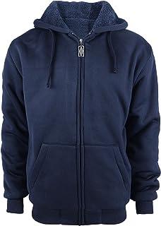 ZITY Men's Heavyweight Hooded Sweatshirt Front-Zip Fleece Hoodie with Split Kangaroo Pocket