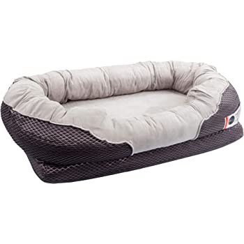 BarksBar Gray Orthopedic Dog Bed - Snuggly Sleeper - with Solid Orthopedic Foam, Extra Comfy Cotton-Padded Rim Cushion and Nonslip Bottom