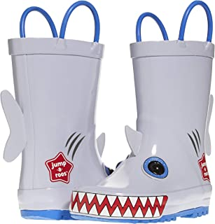 Jump A Roos Sharky Tall Boys Rain Boots, Cute Galoshes for Kids in Many Sizes