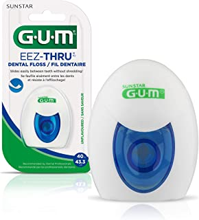 GUM EEZ-Thru Dental Floss, Unflavored, 43.3 Yards (Pack of 6)