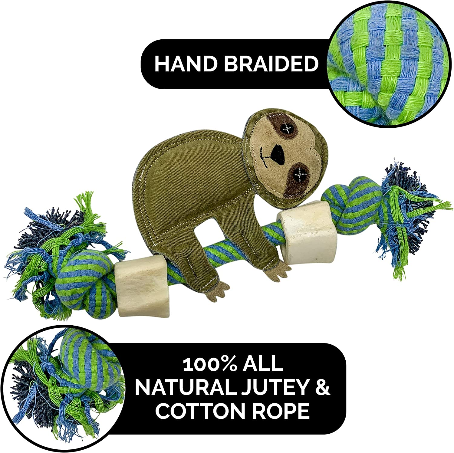 Pet Zone Choy Character All Natural Rope Water Buffalo Bone Dog Chews and Dog Toys 3 Options Available Eco-Friendly Interactive Dog Toys, Dog Chew Toy, Dog Bone, Dog Rope Toy /& Dog Tug Toy in One
