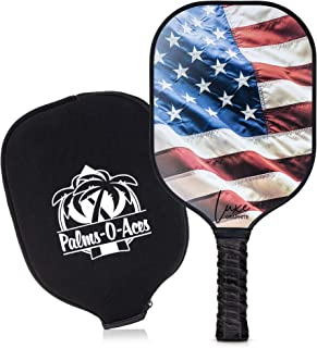 Palms-O-Aces Graphite Pickleball Paddle with Cover - Toray T700 Carbon Fiber Face with Honeycomb Core for Lightweight Powe...