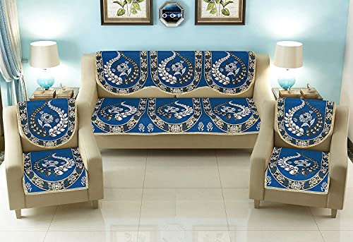 Living Home Sofa Seating Cotton 5 Seater Sofa Cover and Chair Covers Set of 10 Pcs