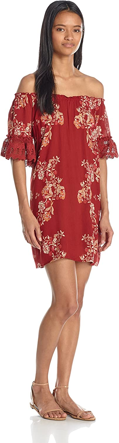 Angie Womens Off The Shoulder Dress with Crochet Trim Dress