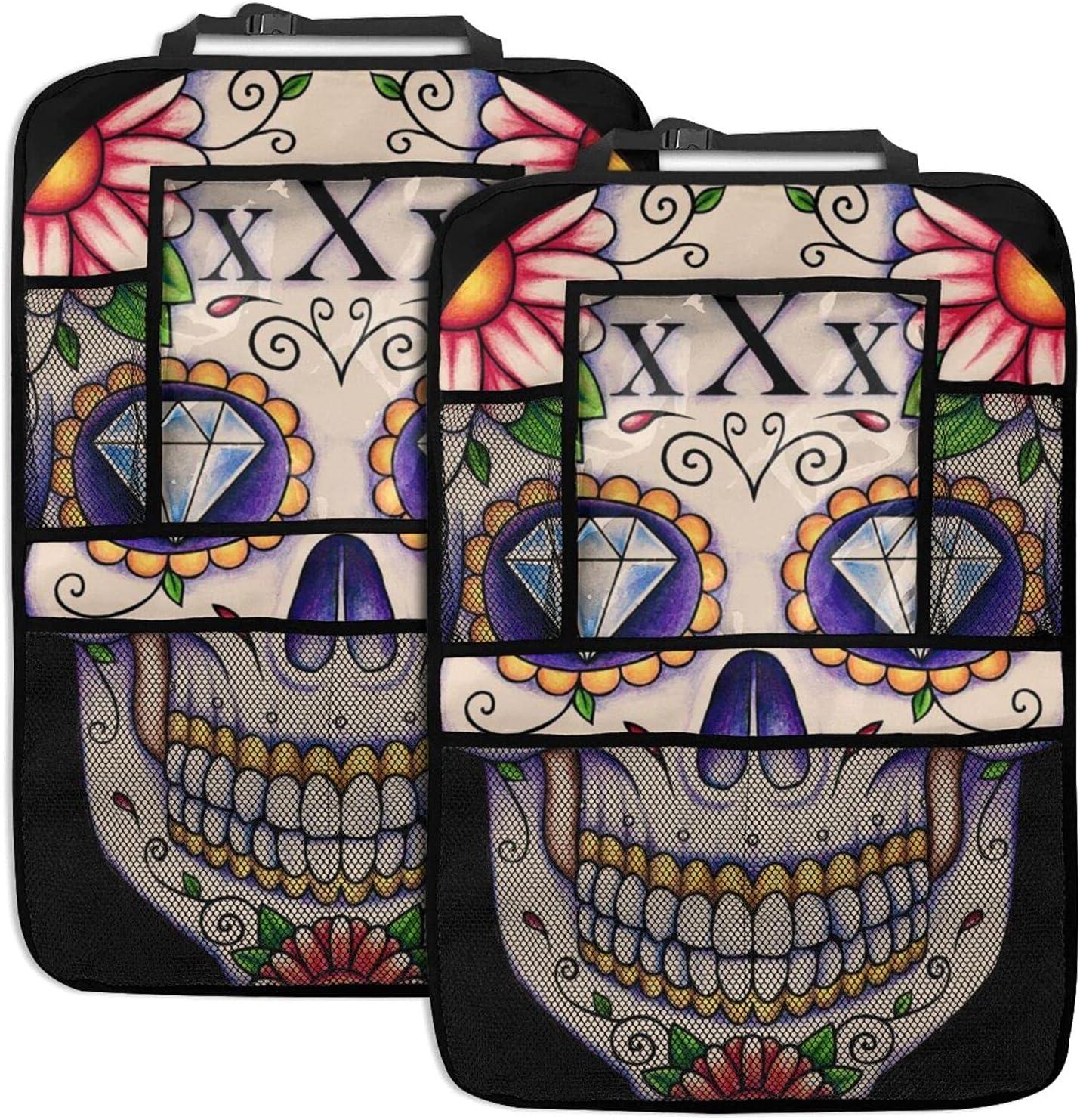 NELife Backseat Organizer Genuine 2 Pack - Sugar Max 73% OFF Tattoo Ey Skull Diamond