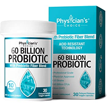 Probiotics 60 Billion CFU - Dr. Approved Probiotics for Women, Probiotics for Men and Adults, Natural, Shelf Stable Probiotic Supplement with Organic Prebiotic, Acidophilus Probiotic, 30 Capsules