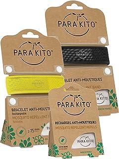 Parakito - PROTECCION NATURAL ANTIMOSQUITO - KIT 2 x Para'kito PULSERA (Negro y Amarillo) + 1 x Recarga Para'kito Para Pulsera