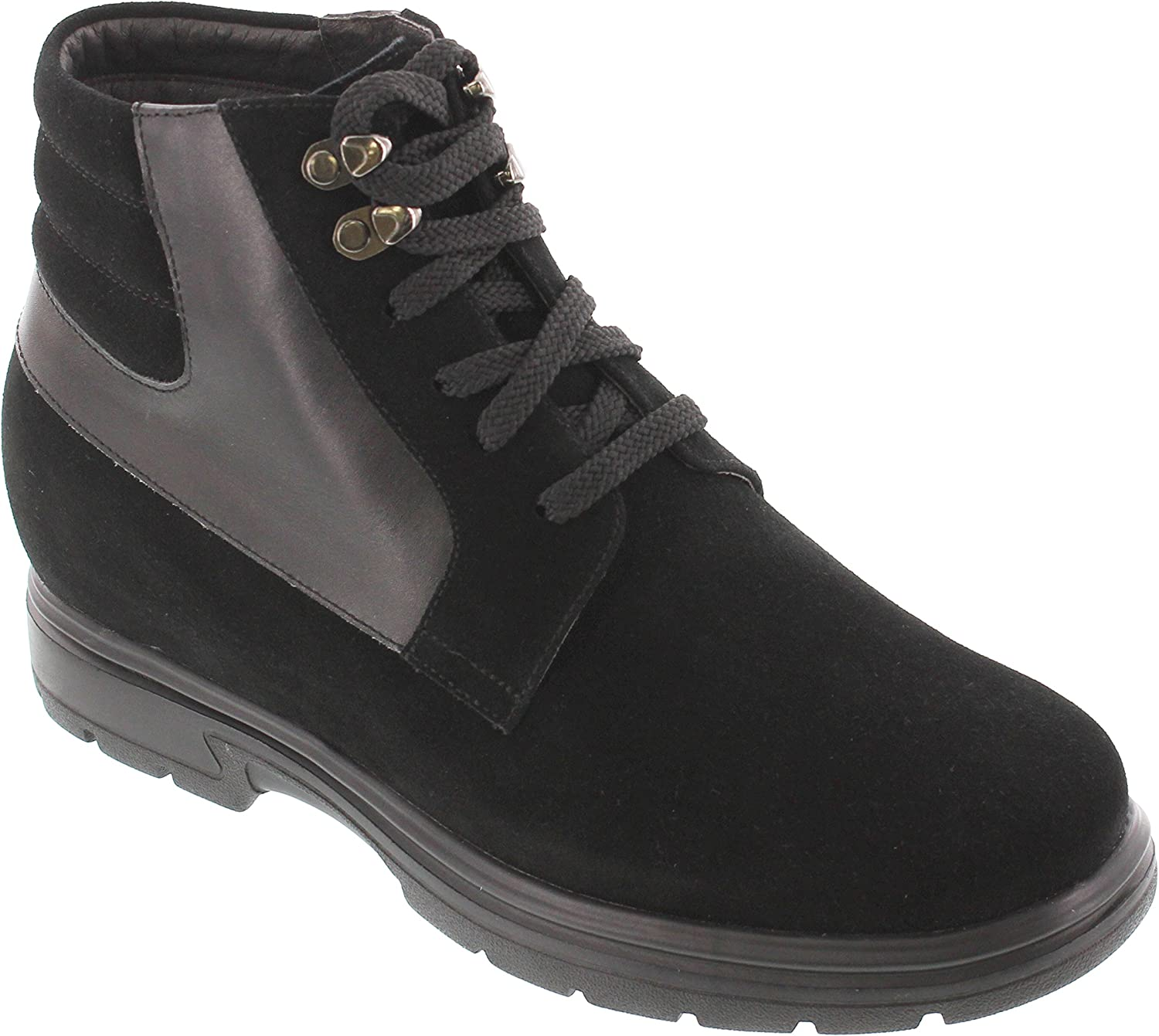 TOTO - H35011 - 3.2 Inches Taller - Height Increasing Elevator shoes - Black Suede Ankle Boots