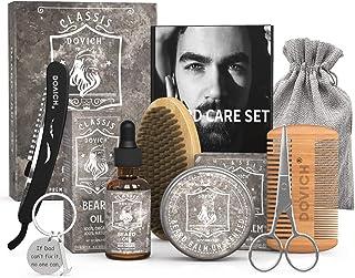 9 In 1 DOVICH Beard Grooming Care Kit, Conditioning Beard Set for Men, Contains Beard Oil, Beard Balm, Beard Comb, Beard Brush, Beard Scissors, Straight Razor