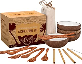 Coconut Bowl Set - 4 Bowls, Spoons, Forks, and Bamboo Straws - 100% Natural, Vegan, Organic, Handmade - Ideal Gift for Vegans, for Smoothie, Acai, Salad, Oatmeal