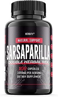 Sarsaparilla Pills 1000mg, Sarsaparilla Bark (Smilax Medica), Sarsaparilla Bark (Hemidesmus indicus) & Black Pepper Powerf...